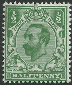 SG323 ½d Bluish Green Type I Die A Crown Watermark Unmounted Mint (King George V Downey Head Stamps)